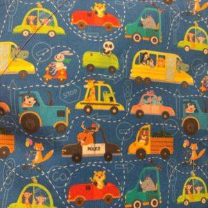 Tela (71) Animales motorizados fondo azul