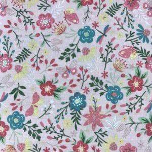 Tela (87) Flores rosa y verde turquesa